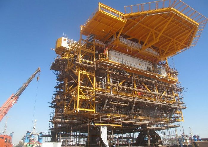 Topside of Salman Offshore Fields being Readied for Loading
