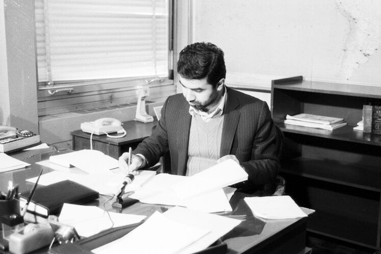 Kazempour in his office, 1985